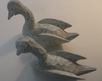 Hand carved vintage wooden swan set