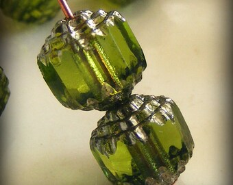 Czech Glass Cathedral Beads 8mm Fire Polish Olive Green with Silver (Qty 8) SRB-8FPC-OG