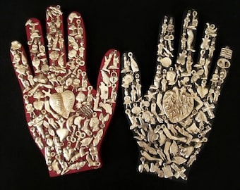 Ex Voto Wood Hand, Healing Hand, Mexican Milagro Charms,  Sacred Heart, Right or Left Hand