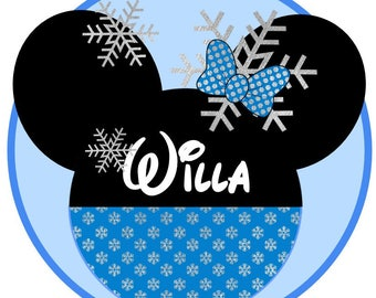 Minnie Snow  princess, snowflakes, frozen, disney, iron on, patch, Winter at Giggles to Go