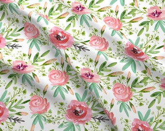 Watercolor Roses Fabric - Watercolor Flowers By Juliabadeeva - Blush Baby Girl Floral NurseryCotton Fabric By The Yard With Spoonflower