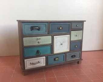 Dollshouse miniature chest of drawers, Miniature furniture, furniture 1:12 one inch scale, dolls furniture