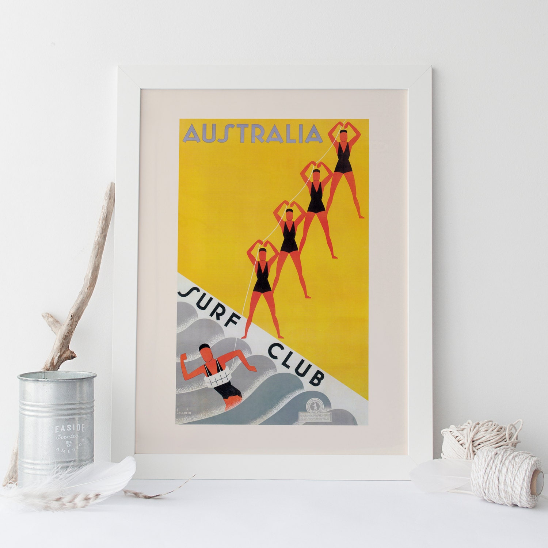 Australia Travel Poster Travel Print Art Deco Poster Art Deco Print Surf Poster Giclee Poster Print High Quality Frame-Ready Ikea Ribba Size