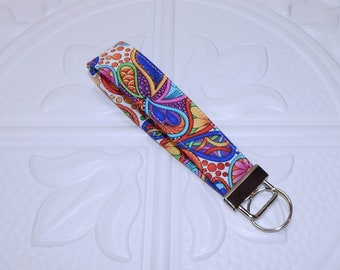 Fabric Keychain Lanyard - Wristlet Key Fob - Fabric Key Chain - Floral Key Chain - Key Fob - Ready To Ship