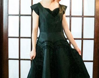 Vintage Black Silk Taffeta Dress - Needs Some TLC