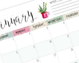 printable 2018 monthly planner