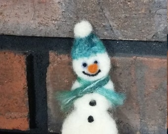 Snowman Needle Felted Wool Brooch Pin