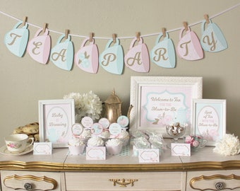 Tea Party Baby Shower Printable Set Decorations: Classic Shabby Chic  Designs   Pink, Mint