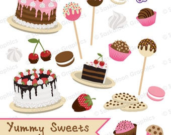 Yummy Sweets Clipart - Instant Download File - Digital Graphics - Cute - Crafts, Web, Parties - Commercial & Personal Use - #Y003