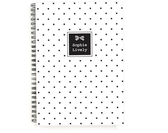 Personalized Notebook A5 Notebook Personalized Notebook Cover Spiral Bound To Do List Monogram Stationery Lined or Blank with Polka Dot Bow
