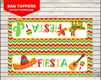 Mexican fiesta Bags toppers instant download, Cinco de mayo party bags toppers, Mexican fiesta Toppers