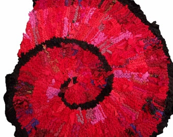 Red Nautilus Hand Knit Fabric Rug