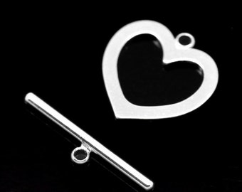 5 Silver Plated Heart Shaped Flat Toggle Clasp  - 18 x 18mm    - Pack of 5