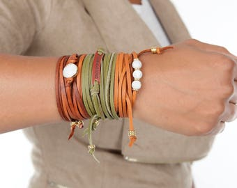 Boho Leather Choker |  Boho Jewelry Necklace  | Leather Bracelet Wrap  | Personalized Color Bracelet  | Necklace Boho Choker Bohemian Gift