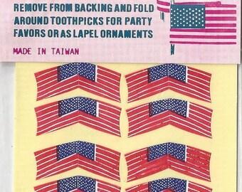 Vintage / adhésif-dos American Flags / Stickers / #60 / Neuve dans l'emballage État / maison de poupée guirlandes / Cupcake pronostics