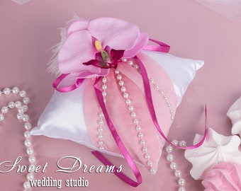 Pink orchid wedding ring pillow, Ring Bearer Pillow, Wedding Pillow, Wedding Ring Pillow, Ring bearer pillow, Pink Ring Pillow, Ring cushion