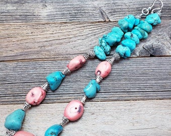 Turquoise and Peach Coral Statement Necklace, Boho, Country Chic