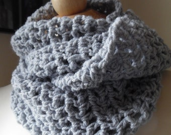 Soft Gray Cashmere Blend Infinity Scarf