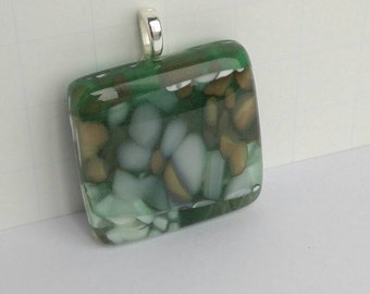 Fused Glass Pendant, Pebble Look, One of a Kind, Wearable Art, Handmade Jewelry, Green XL