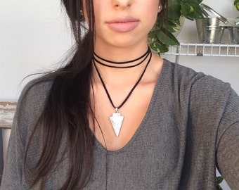 Marble Double Wrap Choker, Black Suede Choker Necklace, Arrowhead Choker Necklace, Gift for her