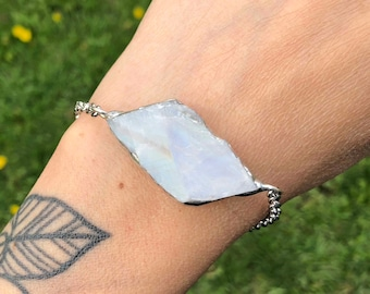 Raw Rough Rainbow Moonstone Bracelet Anklet