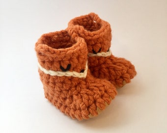 Fox Slipper with Leather Sole, Baby Bootie, Toddler Shoe Shower Gift Soft Sole Boot Newborn Sock Boy Girl