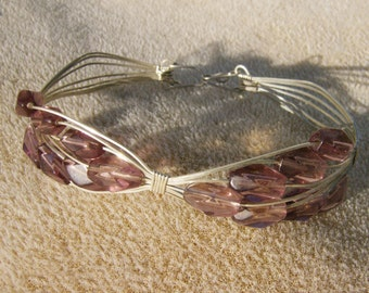 Wire Wrapped Bracelet - Sterling Silver & Plum Color Glass Beads by JewelryArtistry - BR485