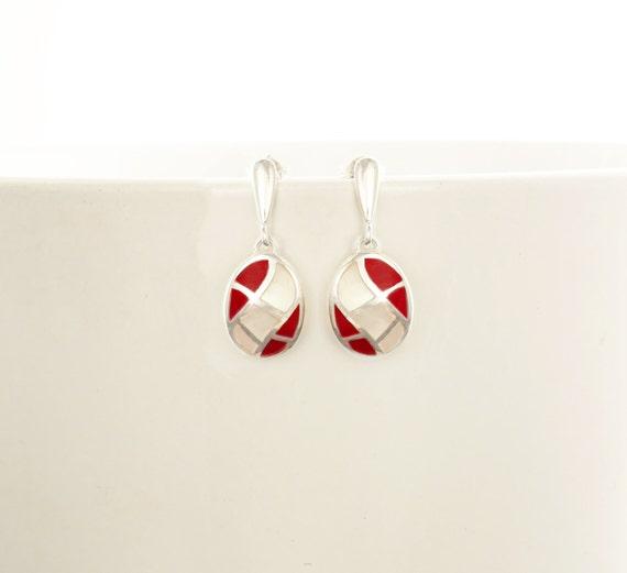 White, Mother of Pearl, Red, Sterling Silver Earrings, Oval Mosaic Earrings - Wave Pattern Earrings, Inlay Dangle Earrings, Shell earrings.