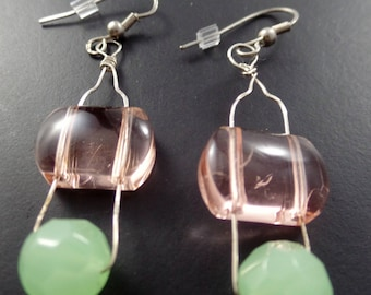 Hand shaped Hammered Silver Wire  Czech Glass Dangle Earrings