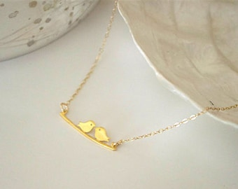 Lovebirds gold vermeil necklace, minimalist bar necklace, delicate two birds necklace, kissing love birds bridal shower wedding gift