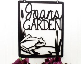 Flag Hanging Metal Sign   Garden Sign   Custom Sign   Gift For Her   Garden Name Sign   Name Sign   Wall Hanging   Frog