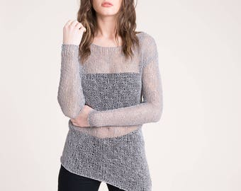 SALE Cotton Sweater / See Through Tunic / Summer Jumper / Knitted Sweater / Asymmetric Sweater / Marcellamoda k  - MB0821