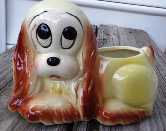 vintage Dog Planter droopy eyes cartoon face ceramic brown yellow kitsch