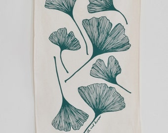 Tea Towel - Ginkgo Leaf - Organic Cotton - Screen Printed - Flour Sack Towel - Modern Kitchen Towels - Dark Green - Unpaper Towel