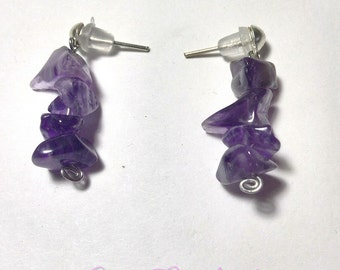 Earrings Amethyst chips
