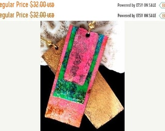 On Sale Rectangle Neon Painted  Glitter Leather Earrings
