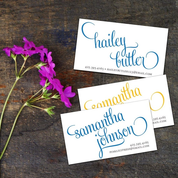 Script Calling Cards, Business Cards, Set of 50 Cards, Set of 100 Cards, Personalized Contact Cards, Simple Script Calligraphy Calling Cards