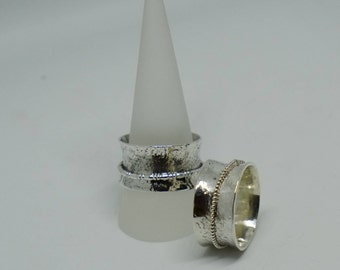 Silver hammered spinning ring with one band handmade