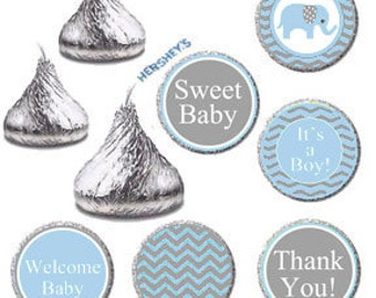 Elephant Baby Shower - Printable It's A Boy Baby Shower Candy Labels, Hershey Kisses Favors Stickers DIY, Blue and Gray Baby Elephant Favors