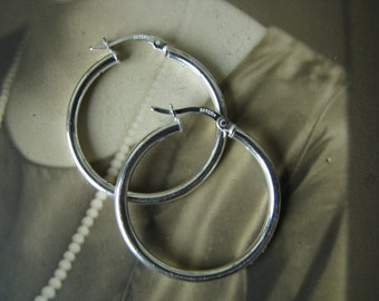 Vintage Sterling Silver Hoop Earrings, 1980's Sterling Silver Hoop Earrings