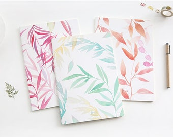 B5 Colorful Leaf Lined Notebook,Minimalist Notebook, Blank Notebook, Scenery, Travel, Planner Insert, Journal,Summer,Japanese,Leaves