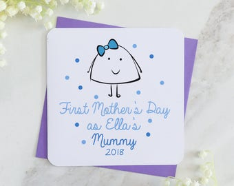 1st mother's day card, personalised mum card, mother's day, blue card, personalised card, spot card, mummy card, mum card, from baby card,uk