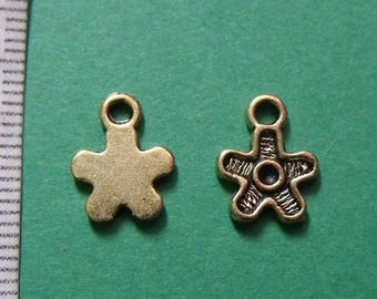 set of 2 Golden 12mmx9mm charms