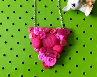 Hot Pink Button Necklace, Retro, Vintage Button Necklace, Colourful Statement Necklace