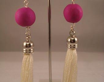 Fuchsia and white dangling tassel earrings