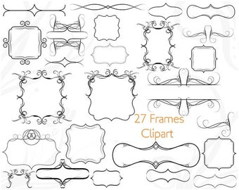 Frame Clip Art Clipart Label Square Frame Clipart Flourish Border Scrapbooking Vintage Victorian Wedding Invitations Greeting Card Bracket