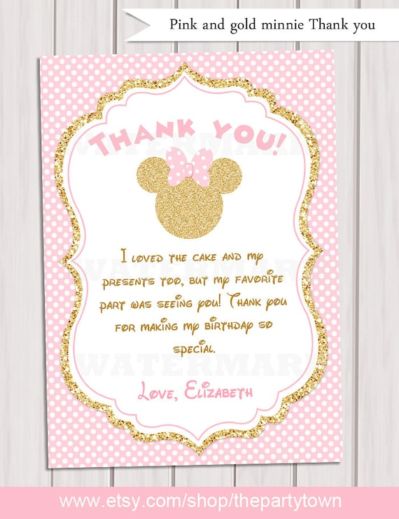 Pink and gold minnie mouse birthday party thank you card like this item bookmarktalkfo Gallery