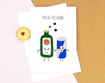 Jagermeister Card, Valentines Card, Birthday Card, Jagermeister, Anniversary Card, Boyfriend Card, Girlfriend Card, Illustration, Jagerbomb