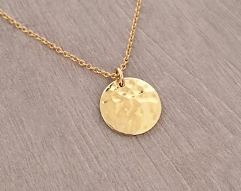 Gold Disc Necklace / Hammered Textured Finish / Minimalist Boho Layering Coin Medal Necklace / Bohemian Summer Layered Charm Necklace