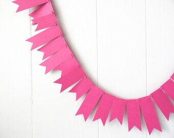 Hot Pink Garland / Neon Pink Bunting / Girl's Room Decor / Razzle Pink Decor / Hot pink Photo Prop